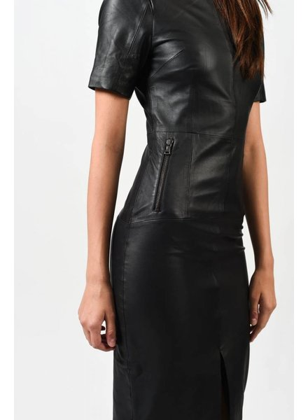 REBECCA VALLANCE JANE FONDA LEATHER TEE DRESS