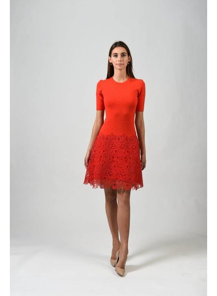 Lela Rose LACE HEM KNIT DRESS