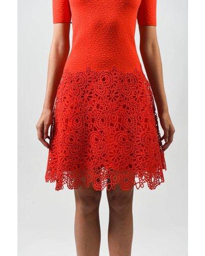 Lela Rose LACE HEM KNIT DRESS
