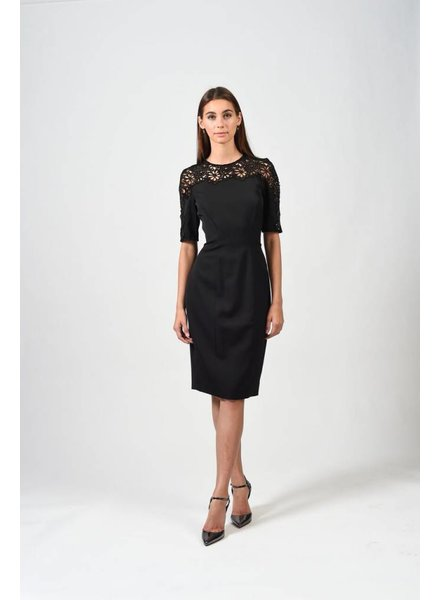 Lela Rose LACE YOKE DRESS