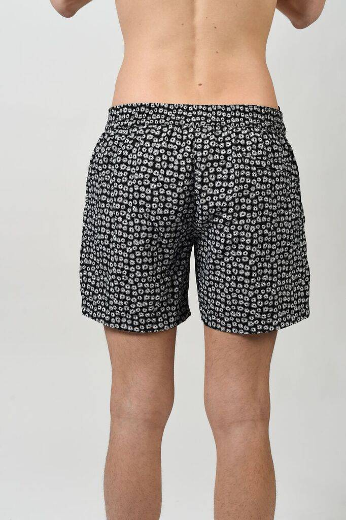 DANWARD MID LENGTH FLAT FRONT SWIM SHORT WITH FLORAL