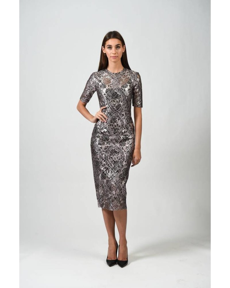 REBECCA VALLANCE RING MY BELL SHORT SLEEVE LACE DRESS