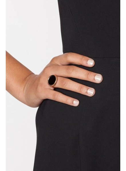 GINETTE NY Black Onyx Disc Ring 18K Rose Gold