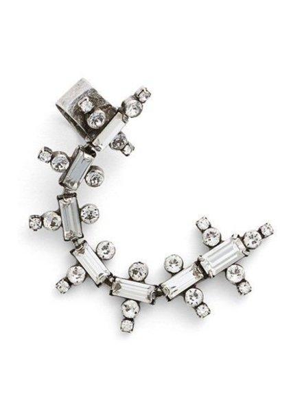 DANNIJO Zosia Clear Crystal Ox Silver Ear Cuff