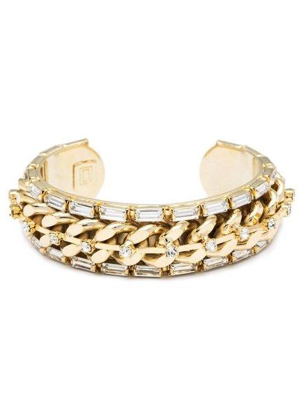 DANNIJO Mick Clear Crystal/Gold Cuff Bracelet