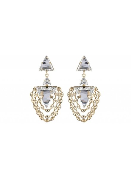 DANNIJO Lorna Clear Crystal/Gold Earrings