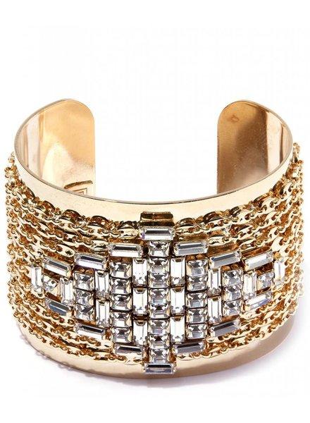 DANNIJO Simone Clear Crystal/Gold Cuff Bracelet