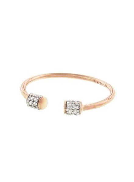 GINETTE NY S6 Single Diamond Choker Ring 18K Rose Gold