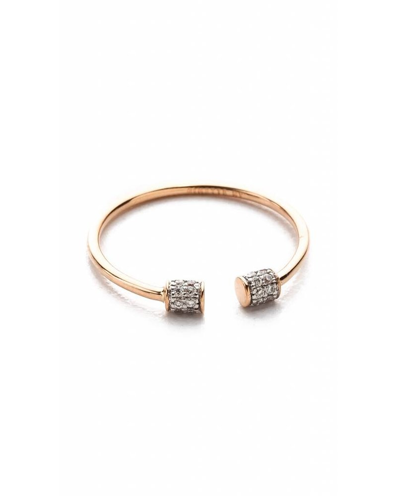 GINETTE NY S7 Single Diamond Choker Ring 18K Rose Gold