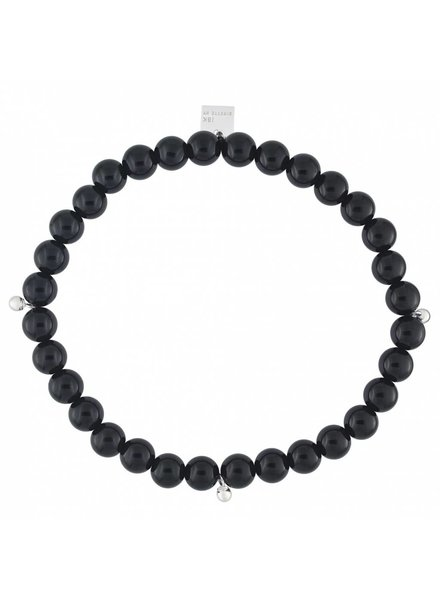 GINETTE NY Elastic Bracelet Onyx 18K White Gold