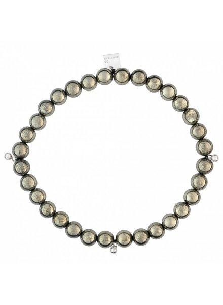 GINETTE NY Elastic Bracelet Pyrite 18K White Gold