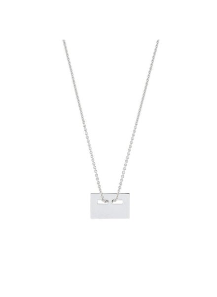 GINETTE NY Baby Plate on Chain 18K White Gold