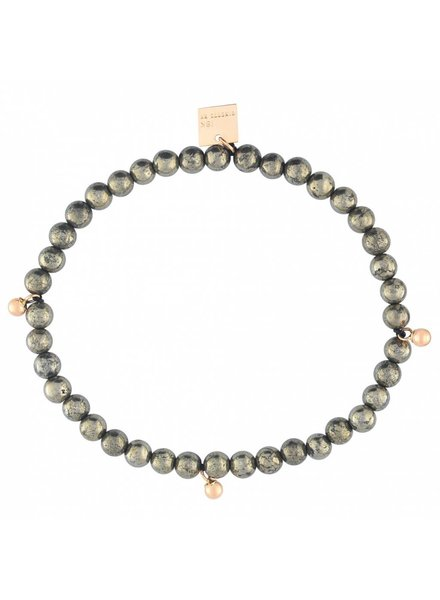 GINETTE NY Elastic Bracelet Pyrite 18K Rose Gold