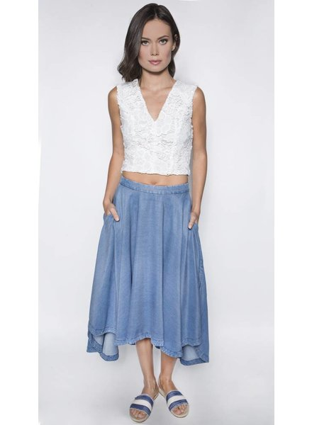 SEN SKYLAR 3/4 FLARED CHAMBRAY
