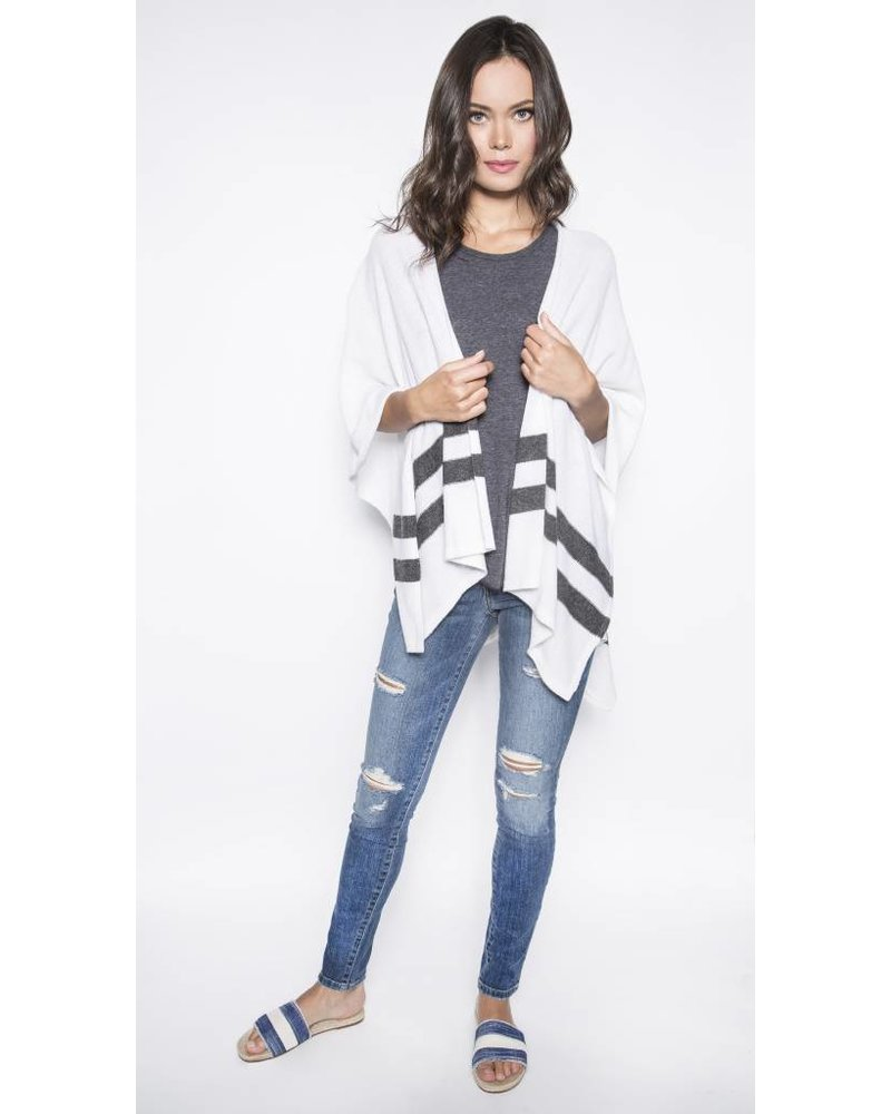 CHARLI BLACK&WHITE STRIPES PONCHO