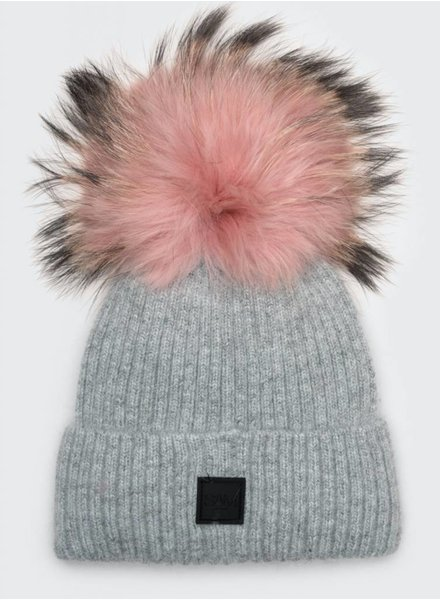 SAM. Fur Beanie Gray/Pink