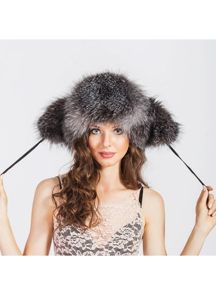 Negin Grey Leather Hat W Fox
