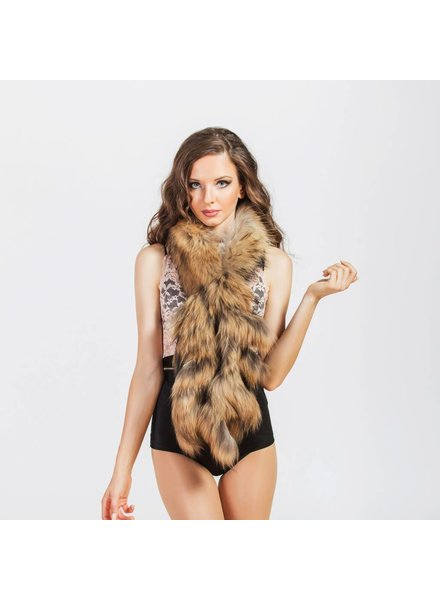 Negin Fox collar with fringes-Natural