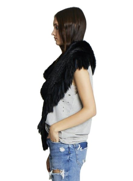 Jocelyn Furs Long Hair Rabbit Black
