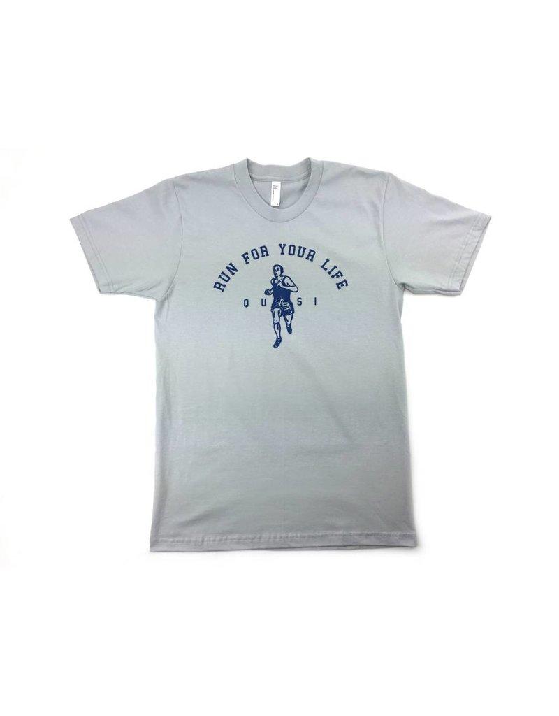 Quasi Quasi Run for your Life T-shirt - New Silver (size Large)