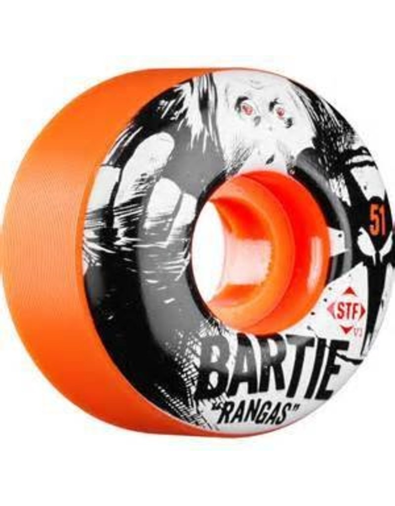 Bones Wheels Bones STF v1 Bartie Rangas 51mm Orange Wheels (set of 4)