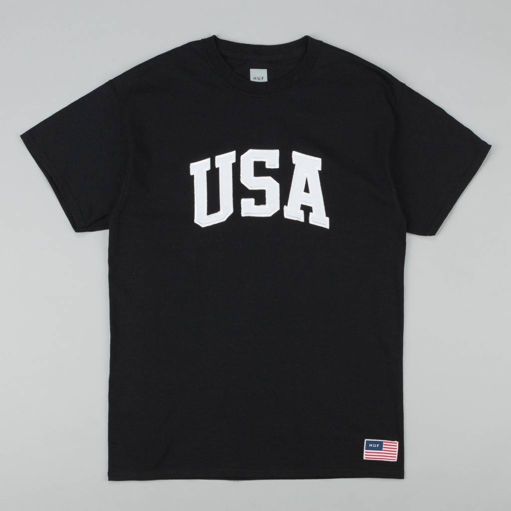 Huf Worldwide Huf USA heavyweight T-shirt - Black (size Small or Medium)