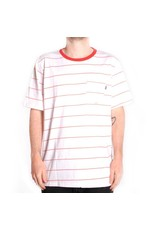 Huf Worldwide Huf Mini Stripe Pocket T-shirt - White/Red (size Small)