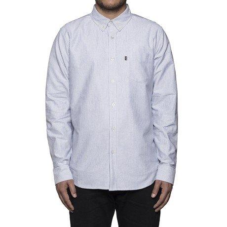 Huf Worldwide Huf Princeton Oxford l/s shirt - black pin stripes size Large