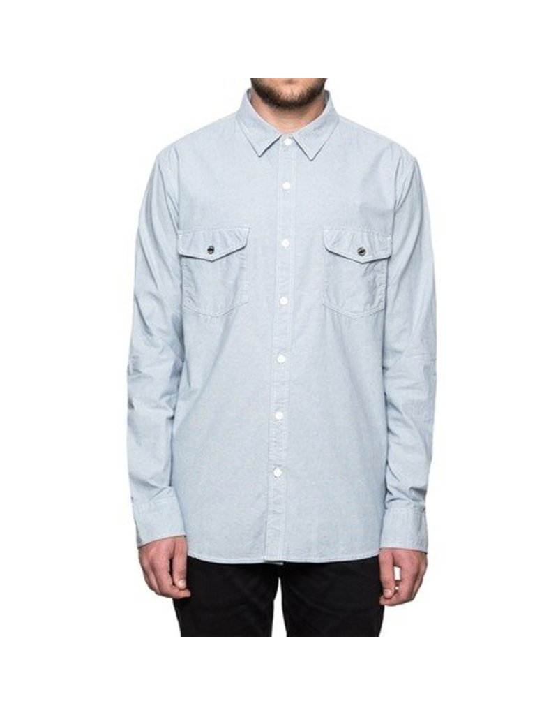 Huf Worldwide Huf Rush Hour Chambray l/s shirt - blue