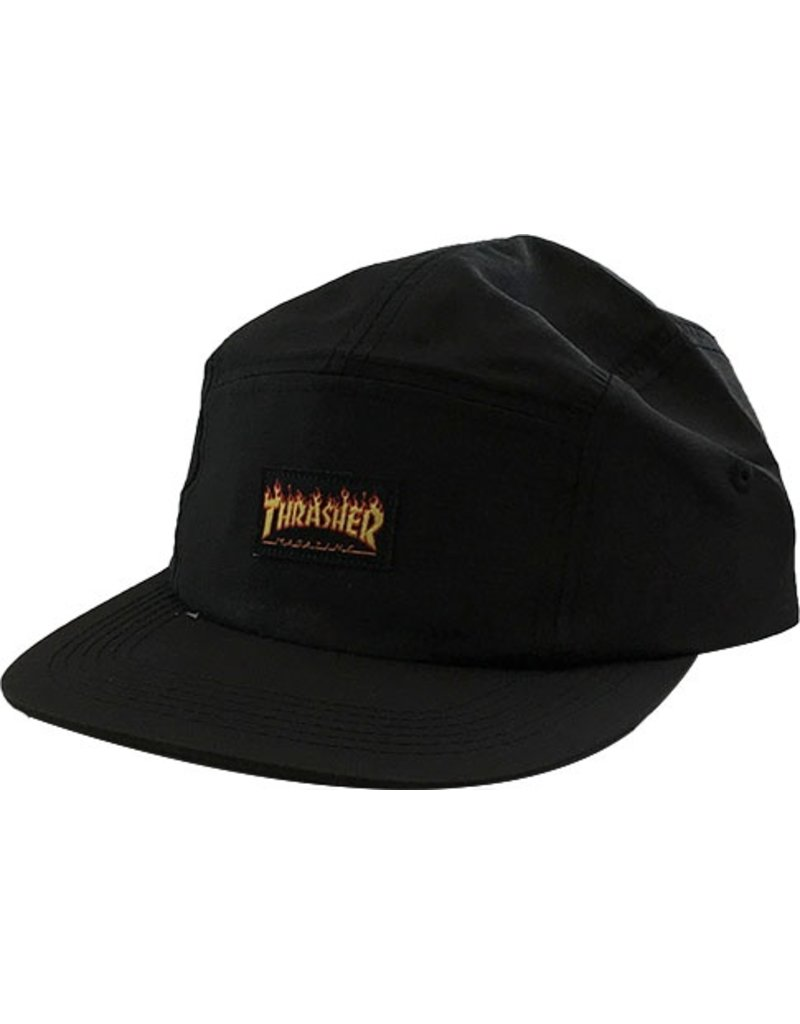 Thrasher Mag Thrasher Flame Logo 5 Panel Hat - Black