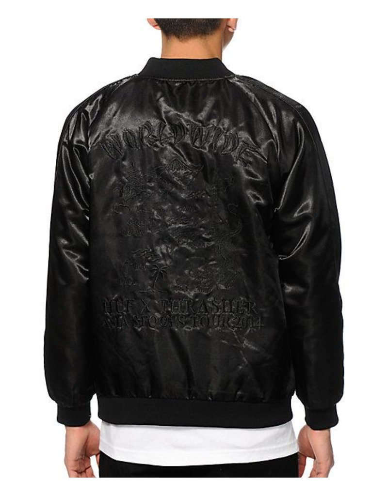 Huf Worldwide Huf x Thrasher Satin Jacket - Black (X-Large)
