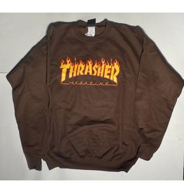 Thrasher Mag Thrasher Flame Logo Crew - Brown