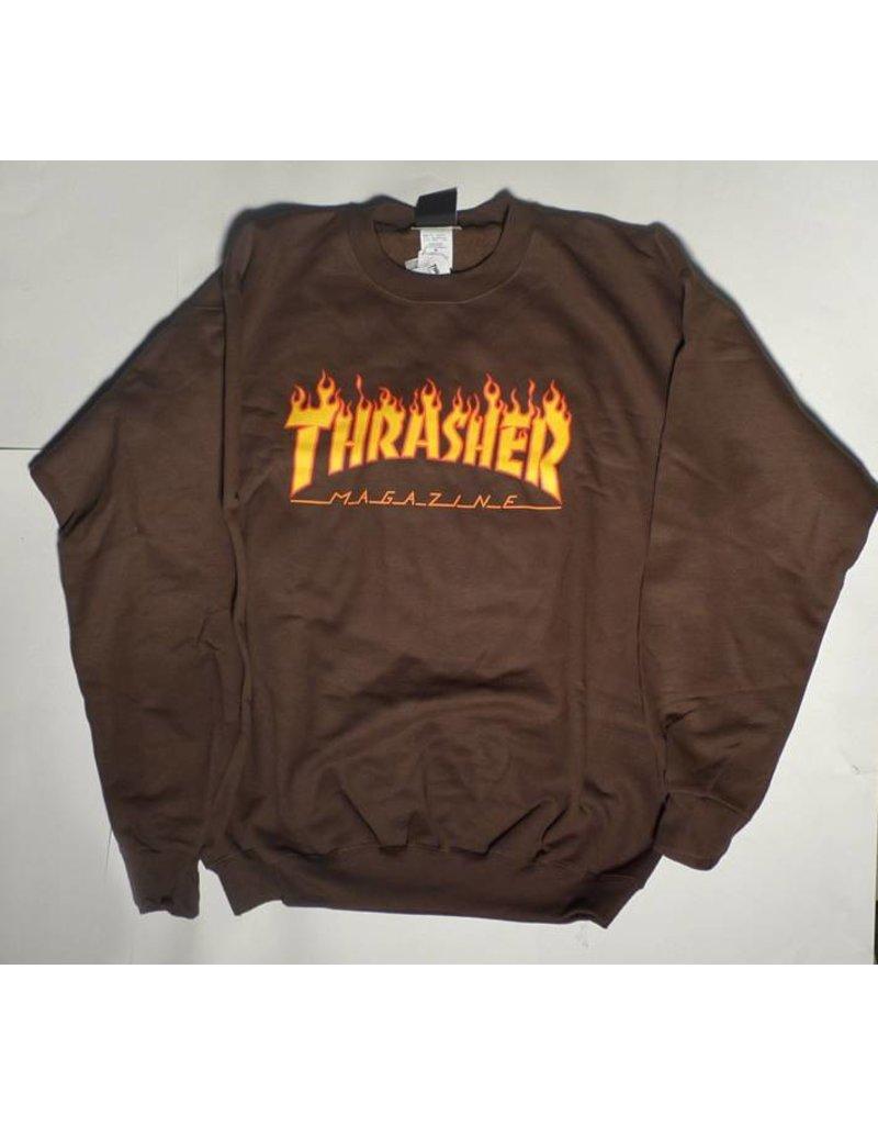 Thrasher Mag Thrasher Flame Logo Crew - Brown