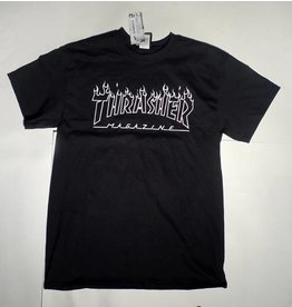 Thrasher Mag Thrasher Flame Outline T-shirt - Black