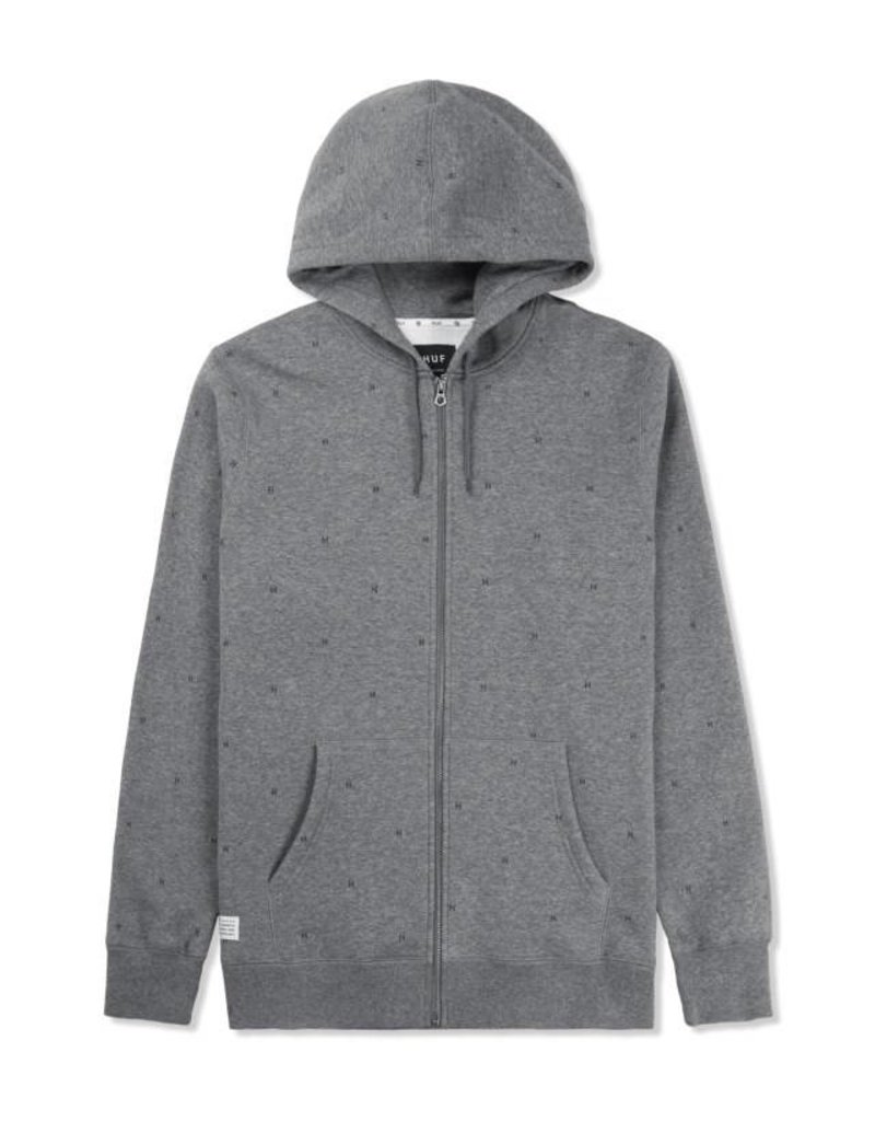 Huf Worldwide Huf Tonal Monogram Zip-Up Hoodie -Gunmetal Heather (Small)