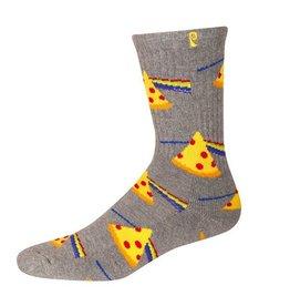 Psockadelic Psockadelic Dark Side of Pizza Heather Grey/Yellow Socks