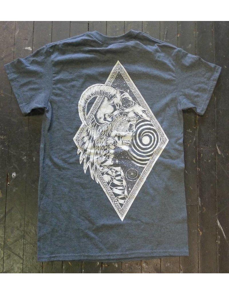 Blanch Blanch Skeleton Head Dress T-shirt - Heather Blue (Small)