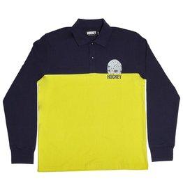 Hockey Hockey Mask Longsleeve Polo - Navy/Yellow