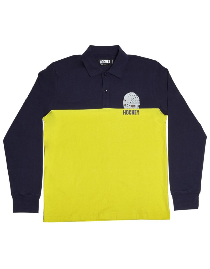 Hockey Hockey Mask Longsleeve Polo - Navy/Yellow