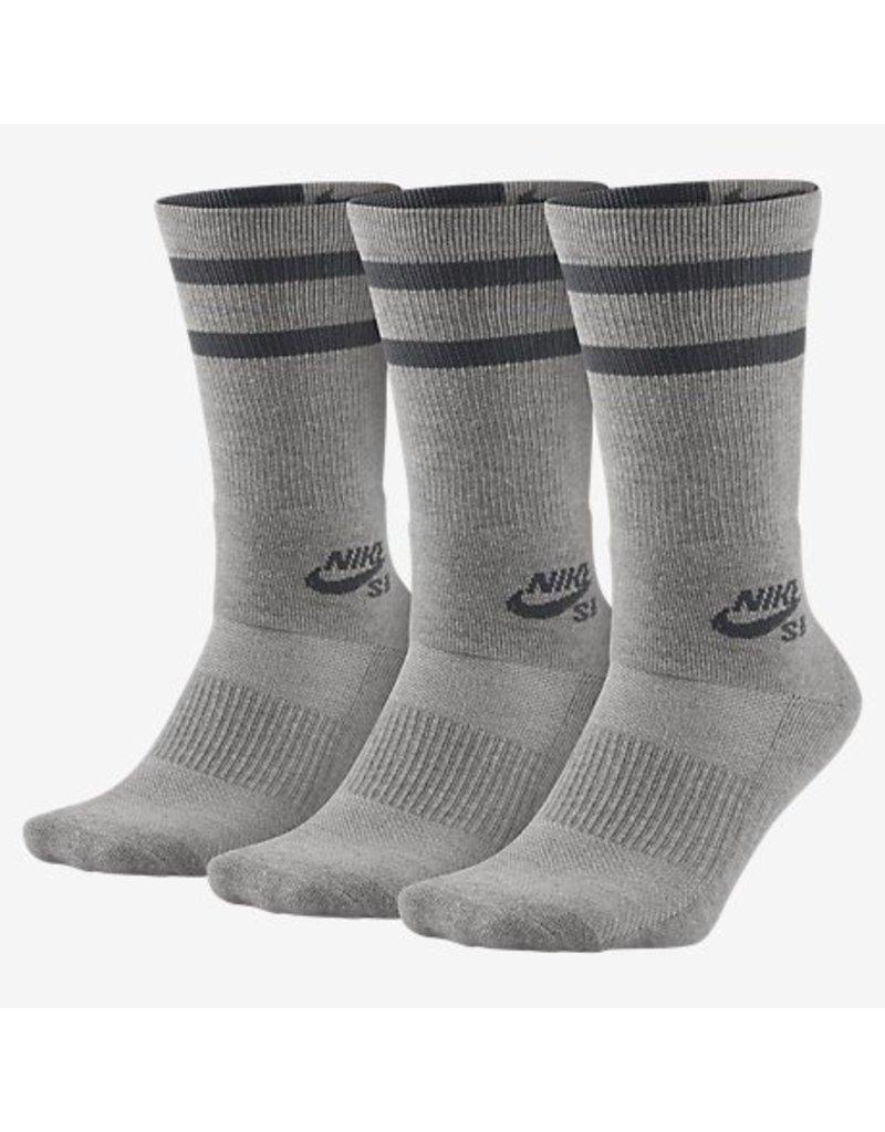 Nike SB Nike sb Dry Crew Socks 3 pack- Heather Grey/Dark Grey (Large 8-12)