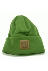 Girl Girl Stamped Leather Fold Beanie - Olive