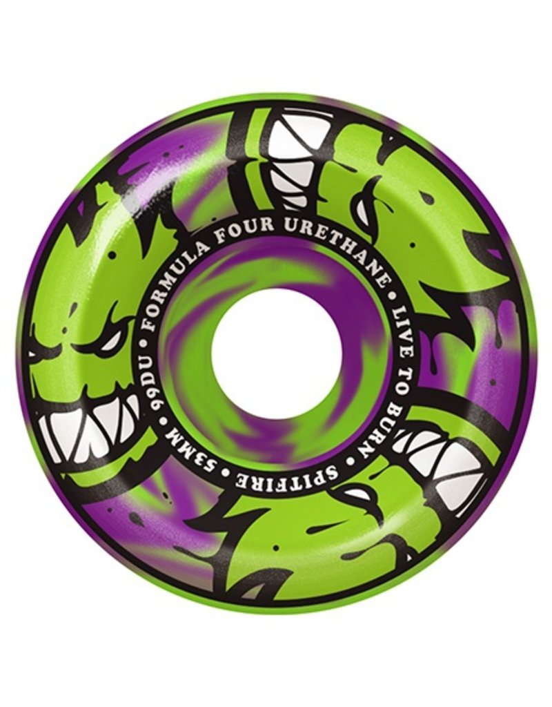 Spitfire Spitfire Formula Four Afterburner Green/Purple Conical Full 99d 53mm Wheels (Set of 4)