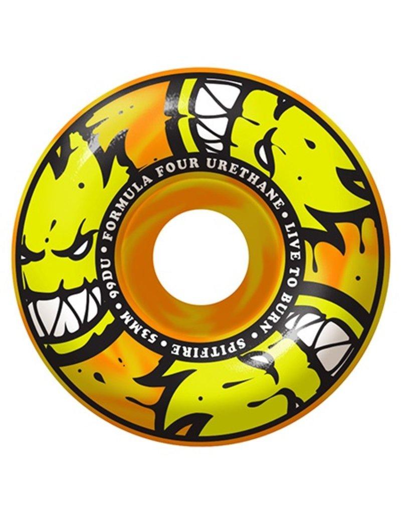 Spitfire Spitfire Formula Four Afterburner Orange/Yellow Classic 99d 53mm Wheels (Set of 4)