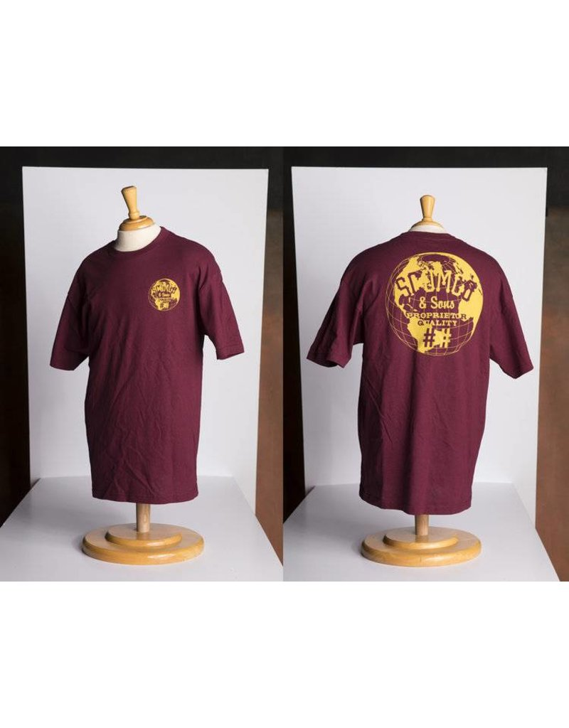 Scumco & Sons Scumco & Sons World Commadore T-shirt - Burgundy/Gold