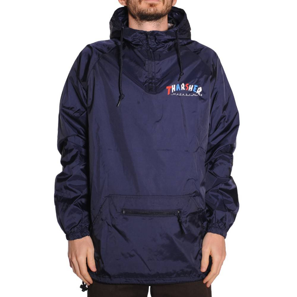 Thrasher Mag Thrasher Knock Off Anorak Jacket - Navy Blue