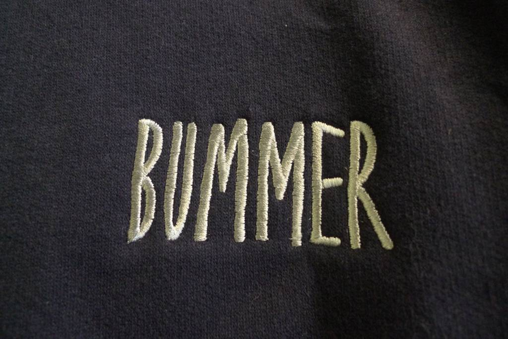 Bummer Bummer Embroidered Crewneck - Navy (size Large)