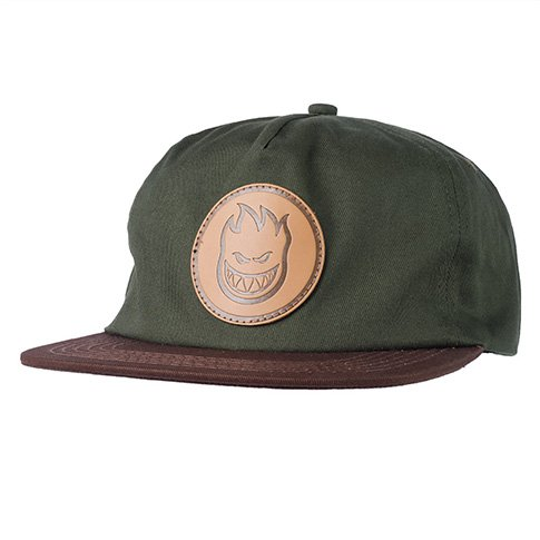 Spitfire Spitfire Bighead Circle Patch Snapback Hat - Dark Army/Brown