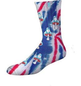 Psockadelic Psockadelic Mushroom 2 Red/Blue Multi Tie Dye Socks