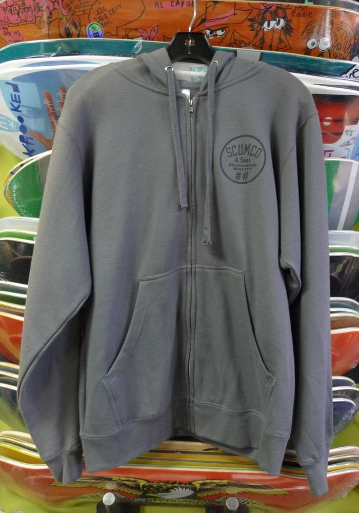 Scumco & Sons Scumco & Sons Cap'n Zip up Hoodie - Grey/Black (Size Small)