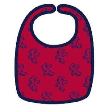 Third Street Sportswear Baby Bib, Cardinal Red & Navy Blue
